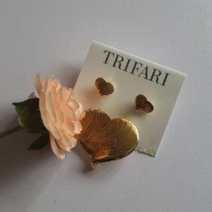 Trifari Gold Heart Earrings & Pin Set